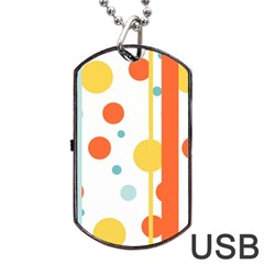 Stripes Dots Line Circle Vertical Yellow Red Blue Polka Dog Tag Usb Flash (two Sides) by Mariart