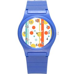 Stripes Dots Line Circle Vertical Yellow Red Blue Polka Round Plastic Sport Watch (s) by Mariart