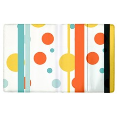 Stripes Dots Line Circle Vertical Yellow Red Blue Polka Apple Ipad 3/4 Flip Case by Mariart