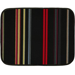 Stripes Line Black Red Fleece Blanket (mini) by Mariart