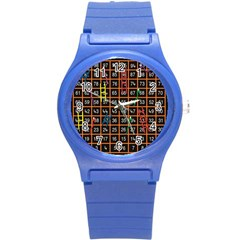 Snakes Ladders Game Plaid Number Round Plastic Sport Watch (s) by Mariart