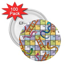 Snakes Ladders Game Board 2 25  Buttons (100 Pack)  by Mariart