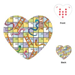 Snakes Ladders Game Board Playing Cards (heart)  by Mariart