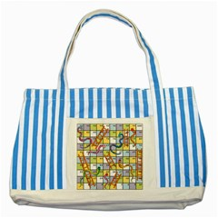 Snakes Ladders Game Board Striped Blue Tote Bag by Mariart
