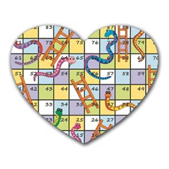 Snakes Ladders Game Board Heart Mousepads by Mariart