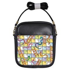 Snakes Ladders Game Board Girls Sling Bags by Mariart