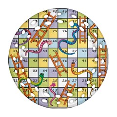 Snakes Ladders Game Board Round Filigree Ornament (two Sides) by Mariart
