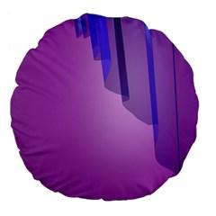Verre Bleu Wave Chevron Waves Purple Large 18  Premium Flano Round Cushions by Mariart