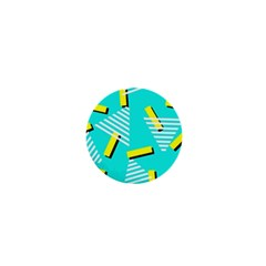 Vintage Unique Graphics Memphis Style Geometric Triangle Line Cube Yellow Green Blue 1  Mini Magnets by Mariart