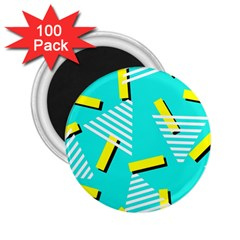 Vintage Unique Graphics Memphis Style Geometric Triangle Line Cube Yellow Green Blue 2 25  Magnets (100 Pack)  by Mariart