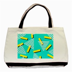 Vintage Unique Graphics Memphis Style Geometric Triangle Line Cube Yellow Green Blue Basic Tote Bag (two Sides) by Mariart