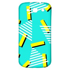 Vintage Unique Graphics Memphis Style Geometric Triangle Line Cube Yellow Green Blue Samsung Galaxy S3 S Iii Classic Hardshell Back Case by Mariart