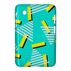 Vintage Unique Graphics Memphis Style Geometric Triangle Line Cube Yellow Green Blue Samsung Galaxy Tab 2 (7 ) P3100 Hardshell Case  by Mariart