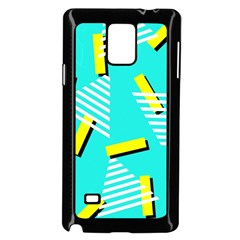 Vintage Unique Graphics Memphis Style Geometric Triangle Line Cube Yellow Green Blue Samsung Galaxy Note 4 Case (black) by Mariart