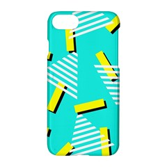Vintage Unique Graphics Memphis Style Geometric Triangle Line Cube Yellow Green Blue Apple Iphone 7 Hardshell Case by Mariart