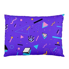 Vintage Unique Graphics Memphis Style Geometric Style Pattern Grapic Triangle Big Eye Purple Blue Pillow Case (two Sides) by Mariart