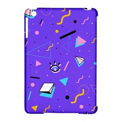Vintage Unique Graphics Memphis Style Geometric Style Pattern Grapic Triangle Big Eye Purple Blue Apple Ipad Mini Hardshell Case (compatible With Smart Cover) by Mariart
