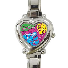 Vintage Unique Graphics Memphis Style Geometric Leaf Green Blue Yellow Pink Heart Italian Charm Watch by Mariart