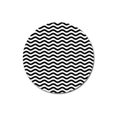 Waves Stripes Triangles Wave Chevron Black Magnet 3  (round) by Mariart