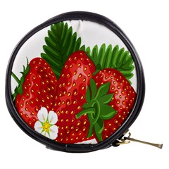 Strawberry Red Seed Leaf Green Mini Makeup Bags by Mariart