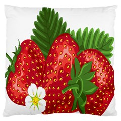 Strawberry Red Seed Leaf Green Large Flano Cushion Case (two Sides) by Mariart