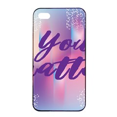 You Matter Purple Blue Triangle Vintage Waves Behance Feelings Beauty Apple Iphone 4/4s Seamless Case (black) by Mariart