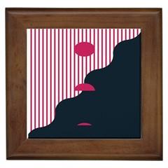Waves Line Polka Dots Vertical Black Pink Framed Tiles by Mariart