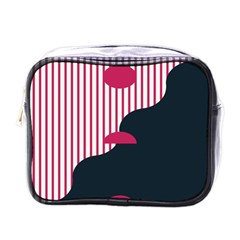 Waves Line Polka Dots Vertical Black Pink Mini Toiletries Bags by Mariart