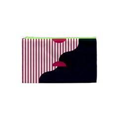 Waves Line Polka Dots Vertical Black Pink Cosmetic Bag (xs) by Mariart