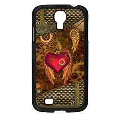 Steampunk Golden Design, Heart With Wings, Clocks And Gears Samsung Galaxy S4 I9500/ I9505 Case (black) by FantasyWorld7