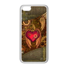Steampunk Golden Design, Heart With Wings, Clocks And Gears Apple Iphone 5c Seamless Case (white) by FantasyWorld7