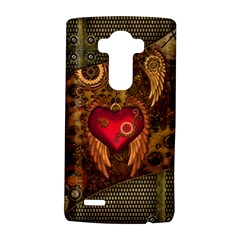 Steampunk Golden Design, Heart With Wings, Clocks And Gears Lg G4 Hardshell Case by FantasyWorld7