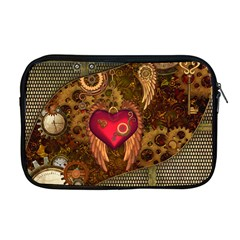 Steampunk Golden Design, Heart With Wings, Clocks And Gears Apple Macbook Pro 17  Zipper Case by FantasyWorld7