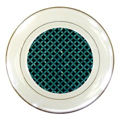 Circles3 Black Marble & Blue Green Water Porcelain Plate by trendistuff