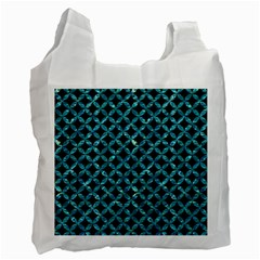 Circles3 Black Marble & Blue Green Water Recycle Bag (two Side) by trendistuff