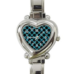 Circles2 Black Marble & Blue Green Water (r) Heart Italian Charm Watch by trendistuff
