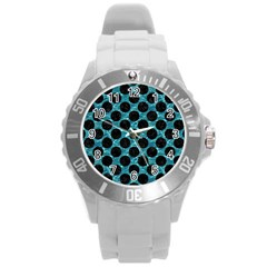 Circles2 Black Marble & Blue Green Water (r) Round Plastic Sport Watch (l) by trendistuff
