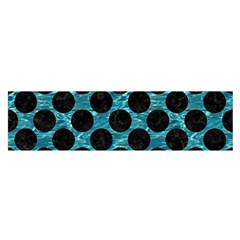 Circles2 Black Marble & Blue Green Water (r) Satin Scarf (oblong) by trendistuff