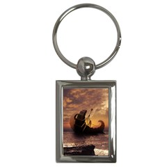Steampunk Fractalscape, A Ship For All Destinations Key Chains (rectangle)  by beautifulfractals
