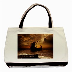 Steampunk Fractalscape, A Ship For All Destinations Basic Tote Bag by beautifulfractals