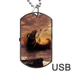 Steampunk Fractalscape, A Ship For All Destinations Dog Tag Usb Flash (two Sides) by beautifulfractals