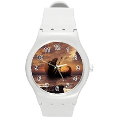 Steampunk Fractalscape, A Ship For All Destinations Round Plastic Sport Watch (m) by beautifulfractals