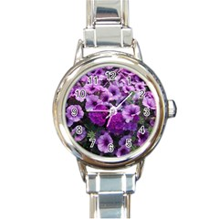 Wonderful Lilac Flower Mix Round Italian Charm Watch by MoreColorsinLife