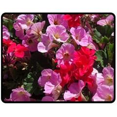 Wonderful Pink Flower Mix Fleece Blanket (medium)  by MoreColorsinLife