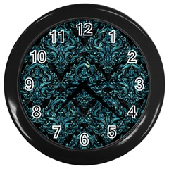 Damask1 Black Marble & Blue Green Water Wall Clock (black) by trendistuff