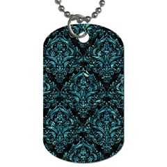 Damask1 Black Marble & Blue Green Water Dog Tag (one Side) by trendistuff