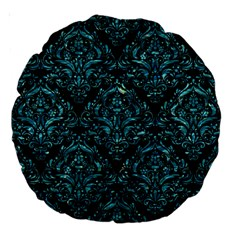 Damask1 Black Marble & Blue Green Water Large 18  Premium Round Cushion  by trendistuff