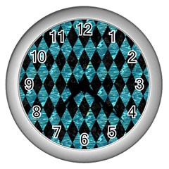 Diamond1 Black Marble & Blue Green Water Wall Clock (silver) by trendistuff