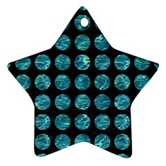 Circles1 Black Marble & Blue Green Water Ornament (star) by trendistuff