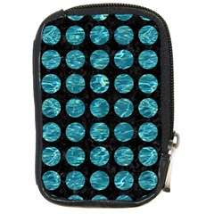 Circles1 Black Marble & Blue Green Water Compact Camera Leather Case by trendistuff